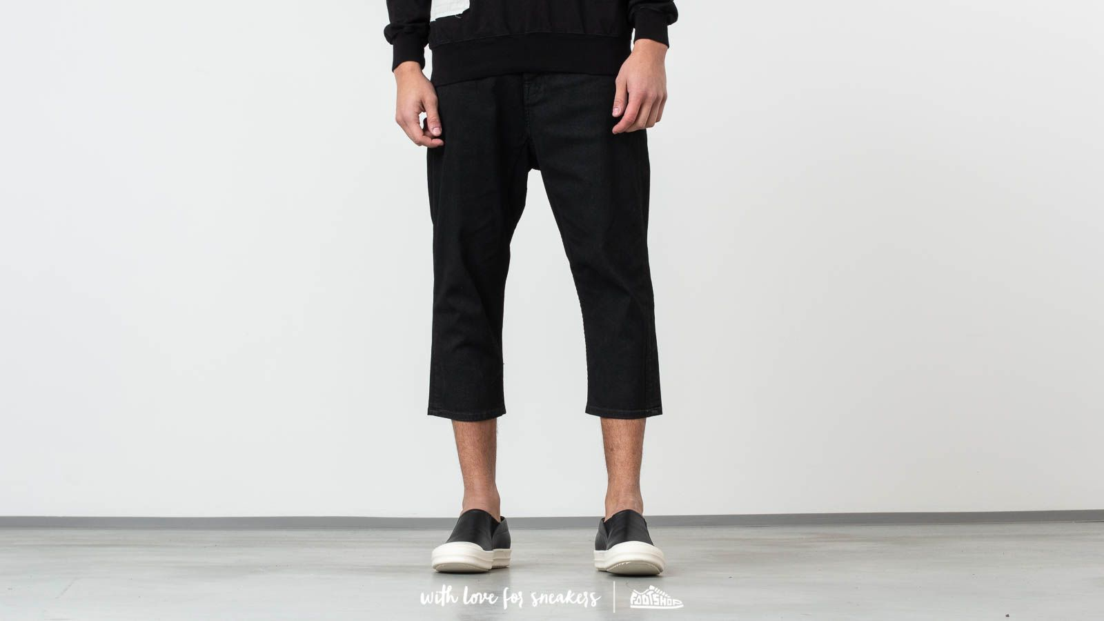 Pantalons Rick Owens DRKSHDW Combo Collapse Cropped Jeans Black