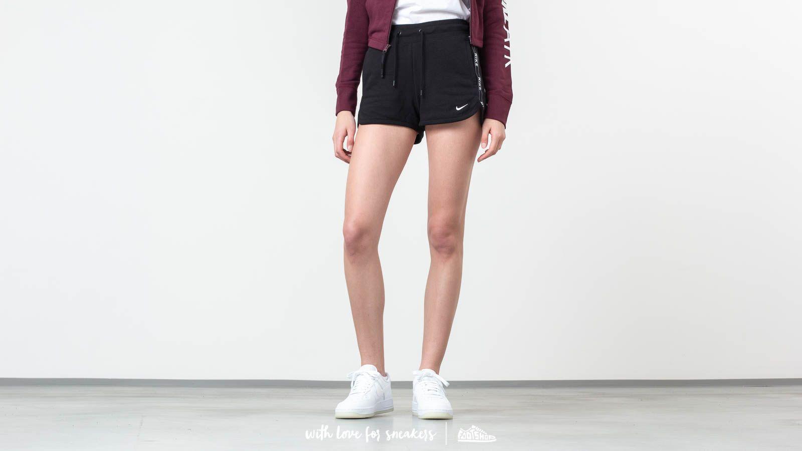 Šortky Nike Sportswear Logo Tape Fleece Short Black/ Black/ Black/ White