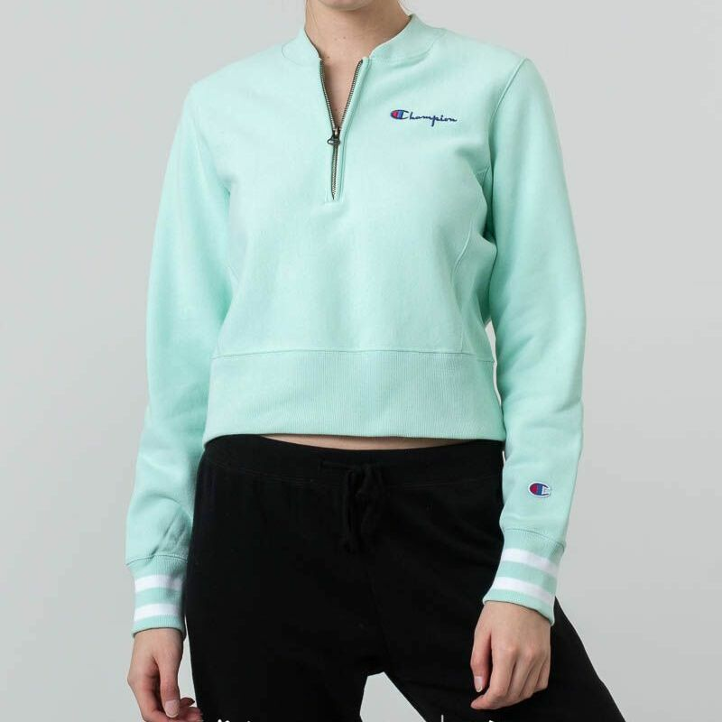 Champion Half Zip-Up Reverse Weave Crewneck Green