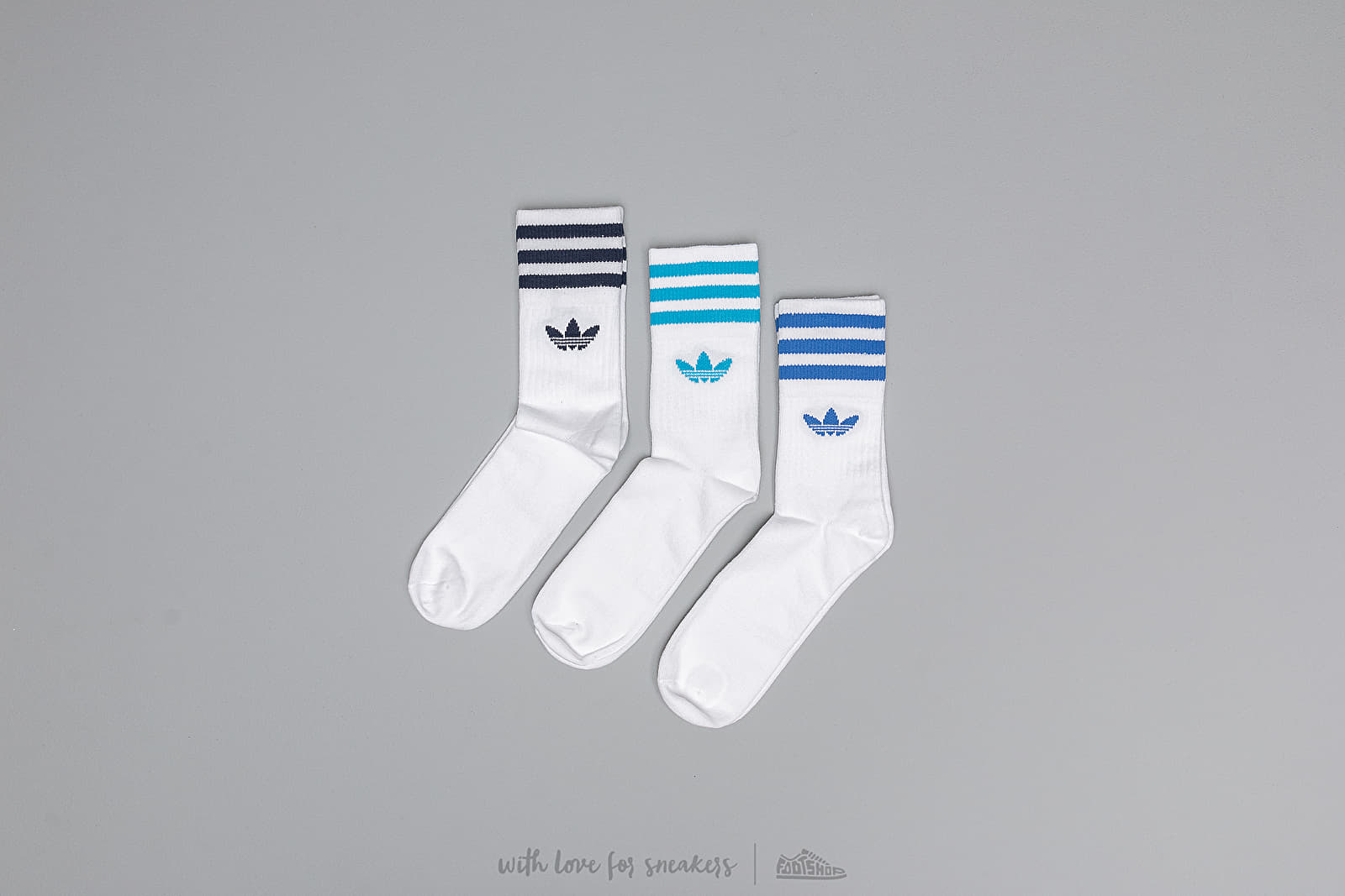 adidas Mid Cut Crew 3-Pack Socks White/ Blue/ Black | Footshop