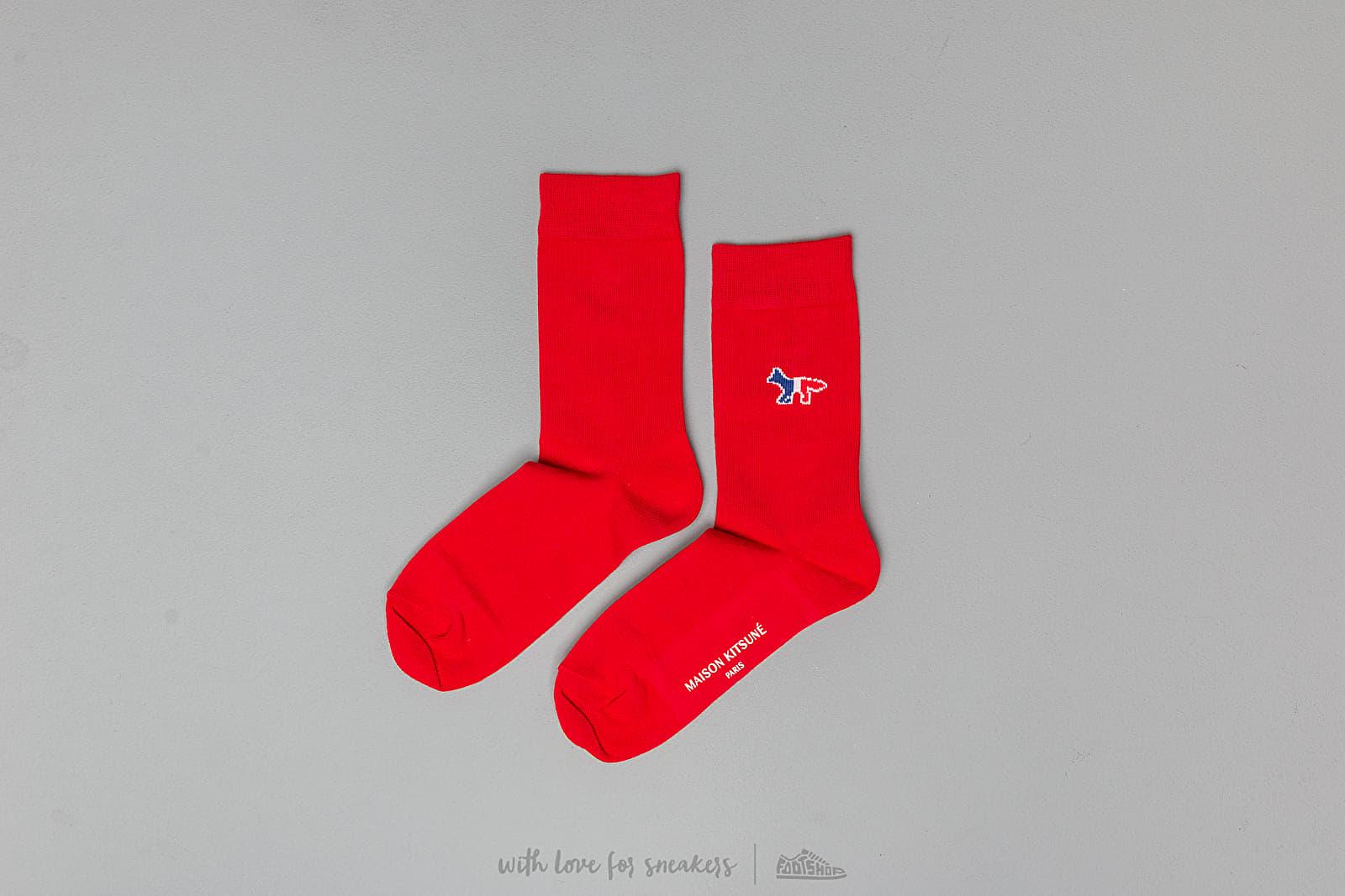 Chaussettes MAISON KITSUNÉ Tricolor Fox Socks Red