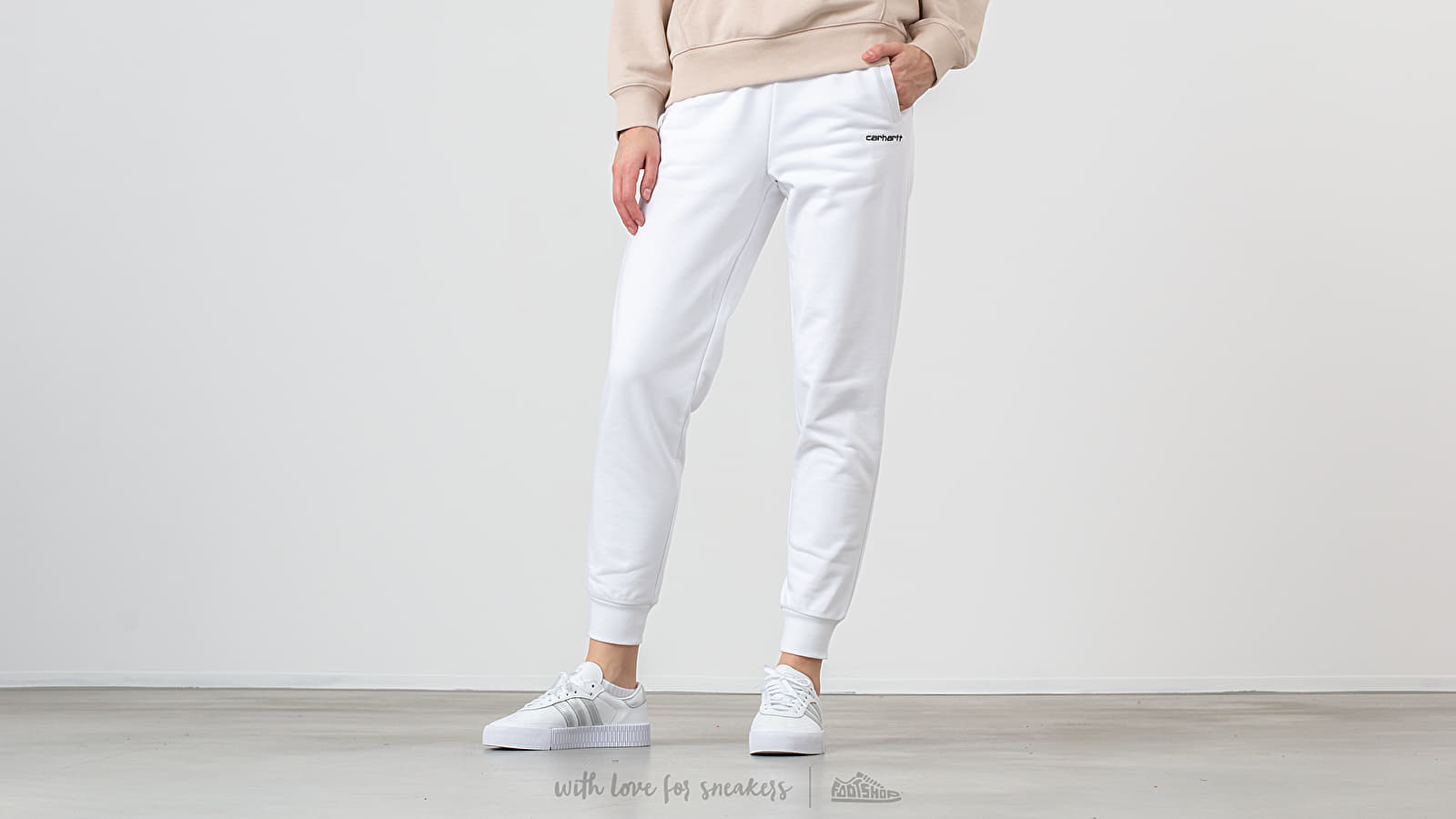Carhartt WIP Script Embroidery Sweat Pant White/ Black at a great price 66 € buy at Footshop