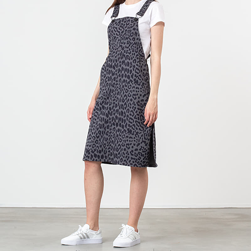 Lazy Oaf Leopard Pinafore Dress Grey