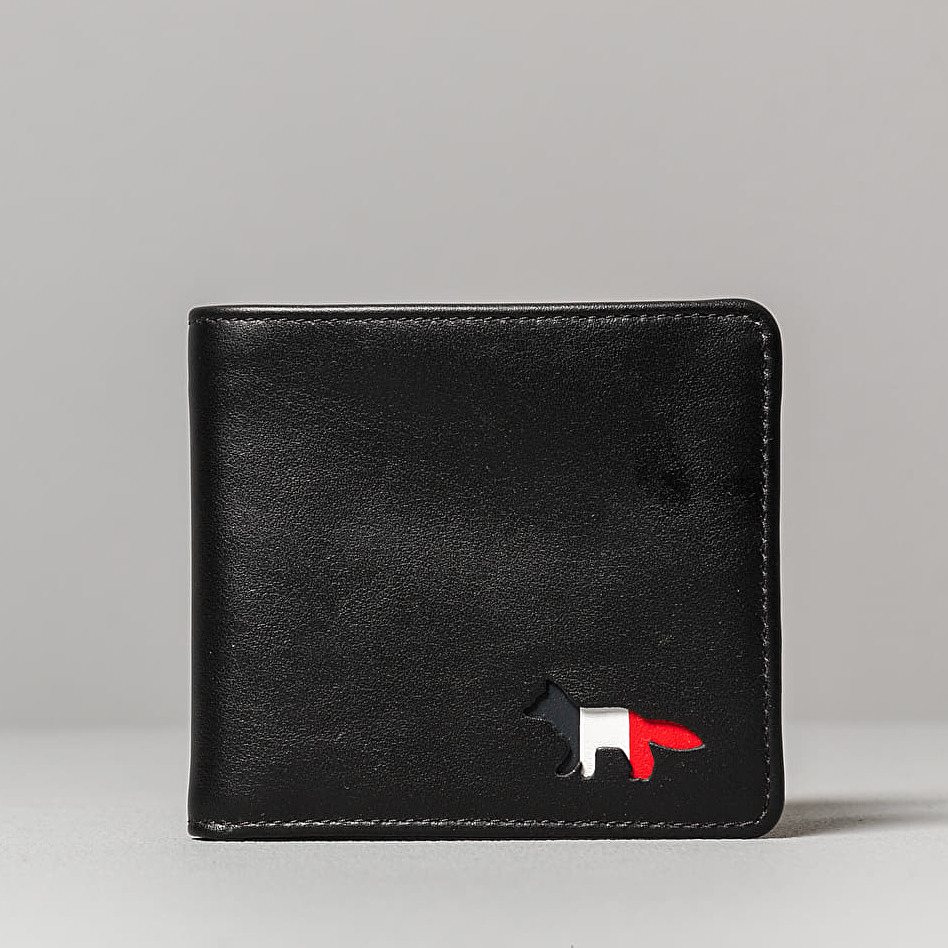 MAISON KITSUNÉ Tricolour Leather Wallet Black
