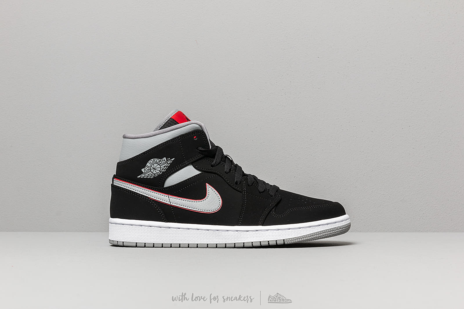 new style 3605a b5d37 Air Jordan 1 Mid Black/ Particle Grey-White-Gym Red at a great