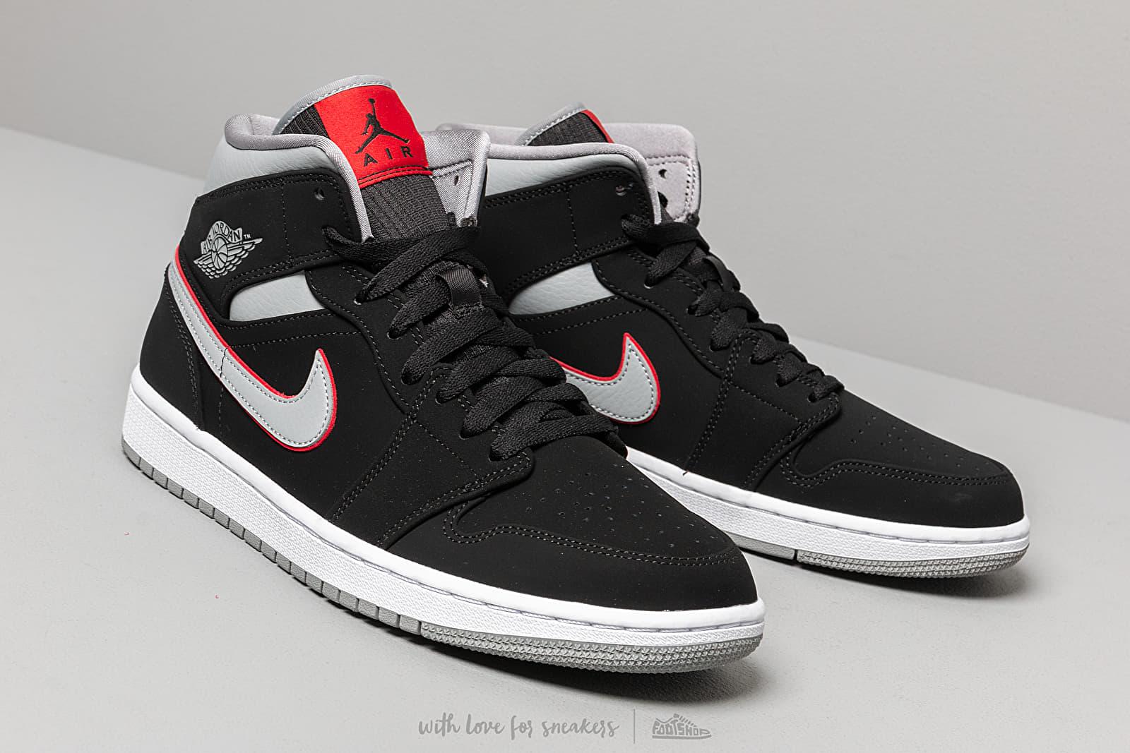 Air Jordan 1 Mid Black Particle Grey White Gym Red | Footshop