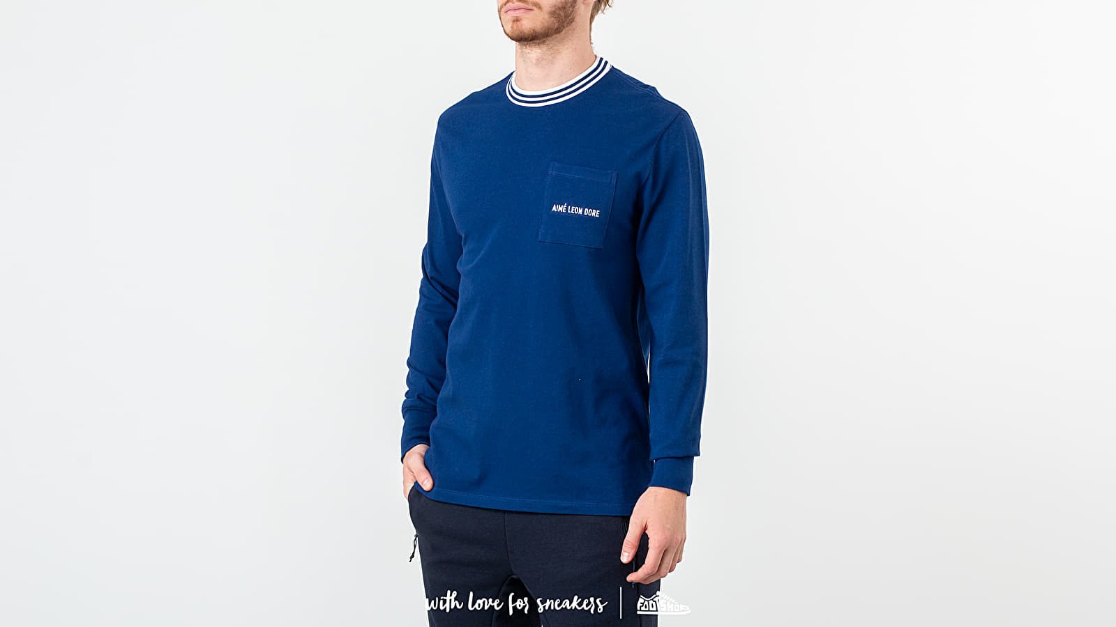 Trička Aimé Leon Dore Long Sleeve Cellar Tee Midnight Blue