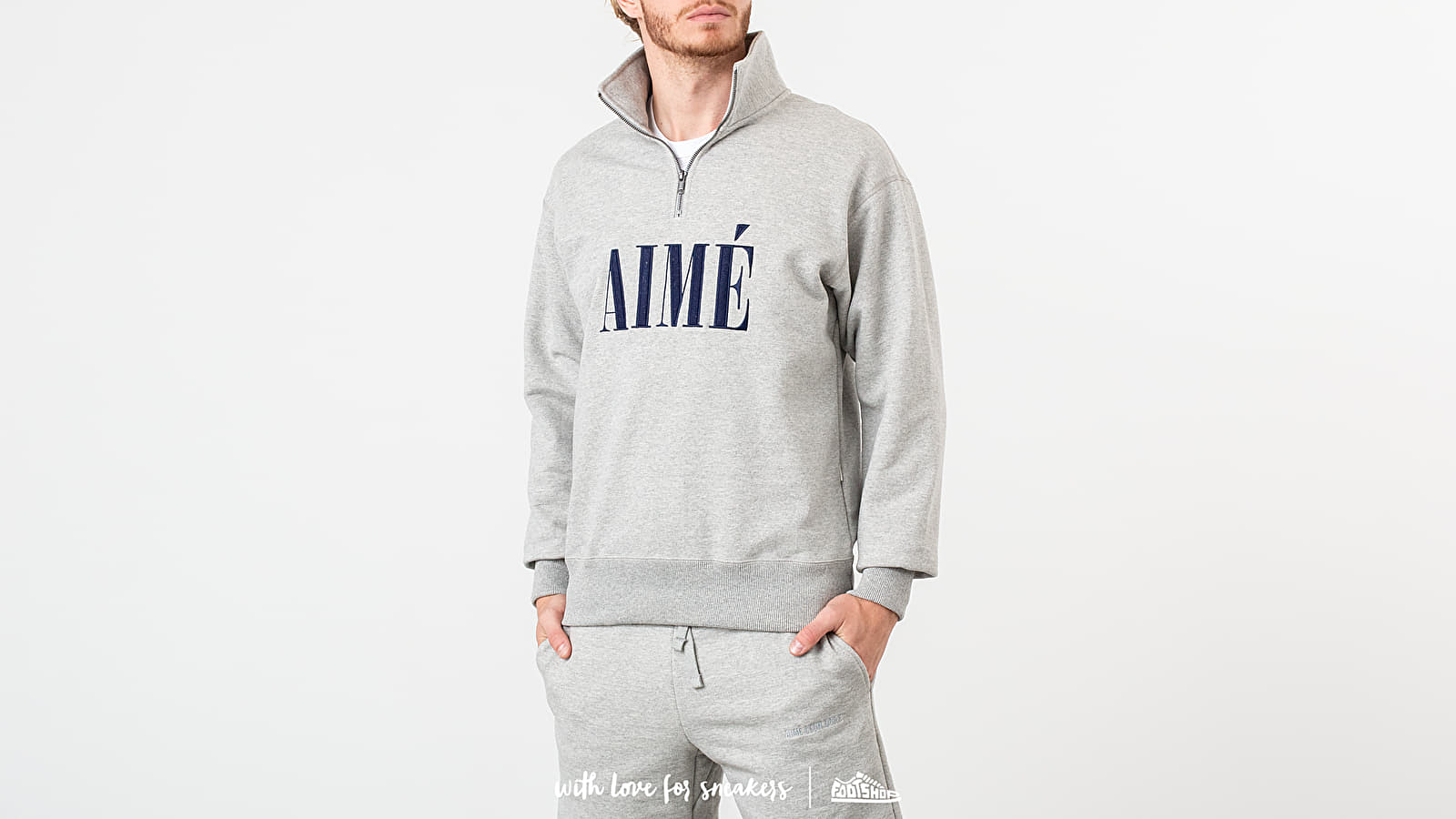 Sweatshirts Aimé Leon Dore Quarter Zip Pullover Heather Grey