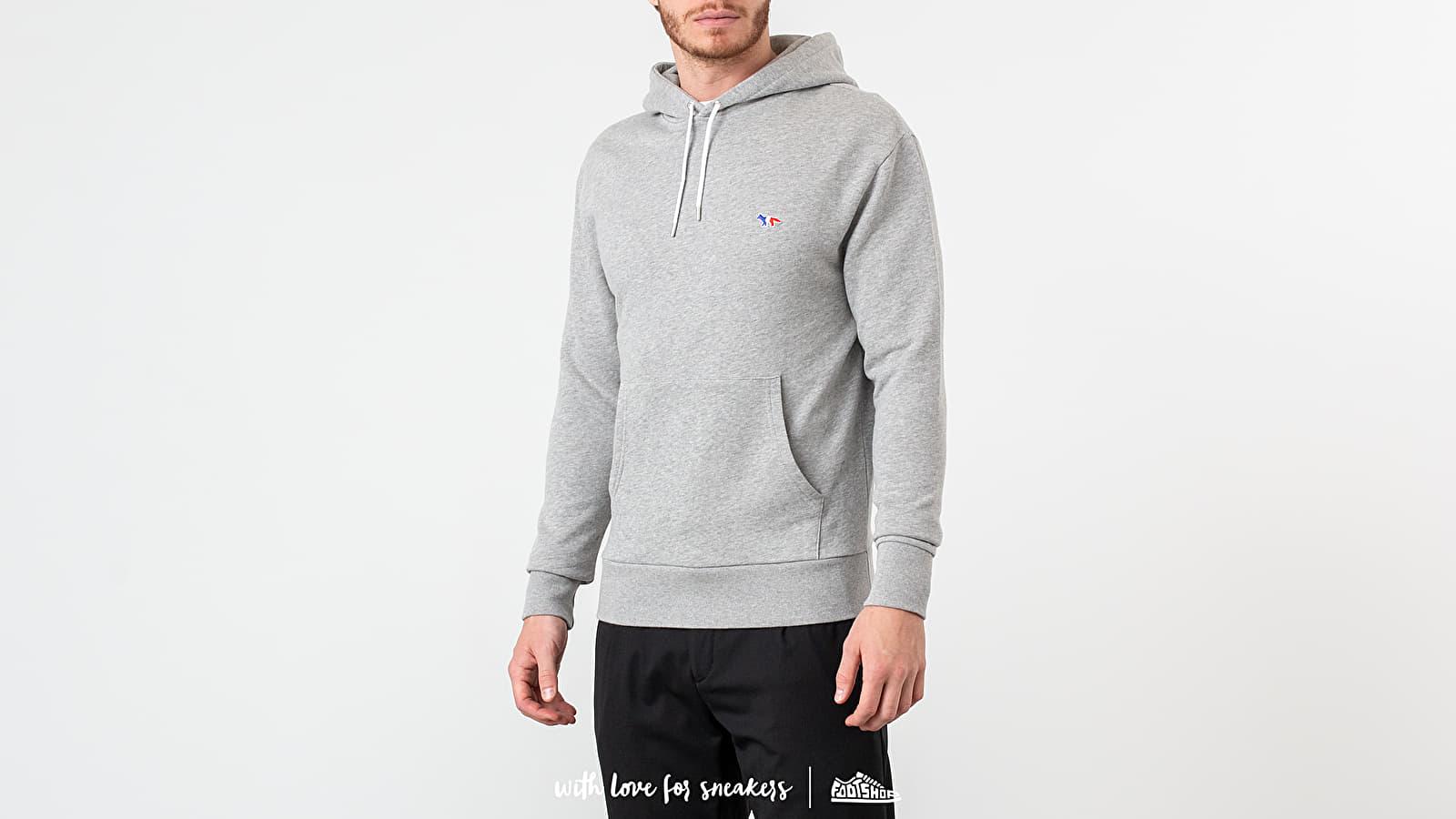 Sweatshirts MAISON KITSUNÉ Tricolor Fox Patch Hoodie Grey Melange