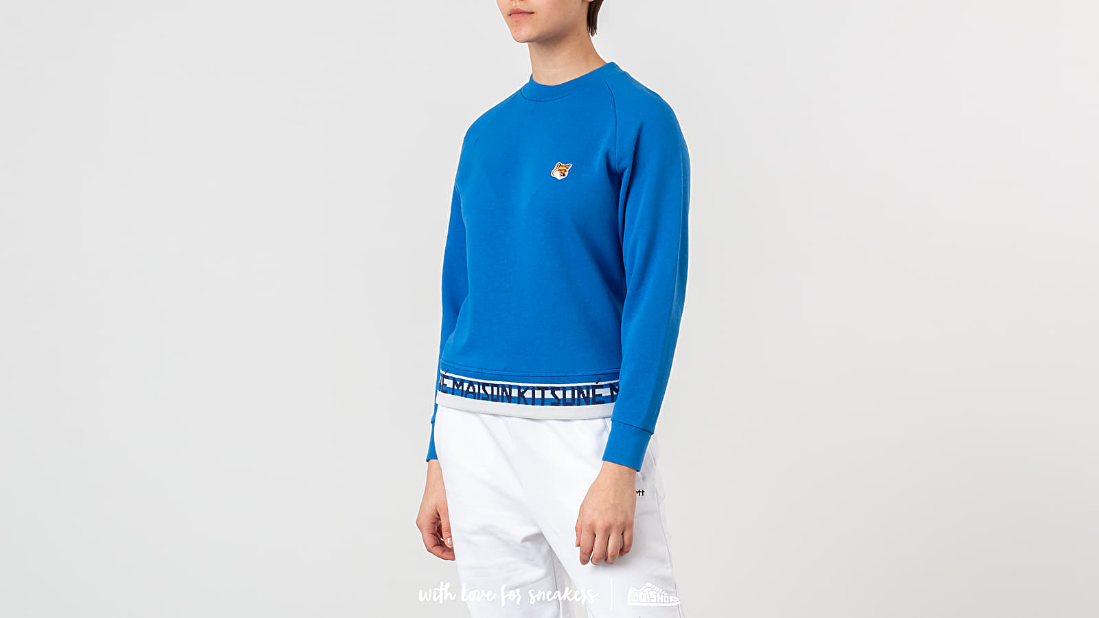 Sweatshirts MAISON KITSUNÉ Fox Head Patch Jacquard Sweatshirt Blue