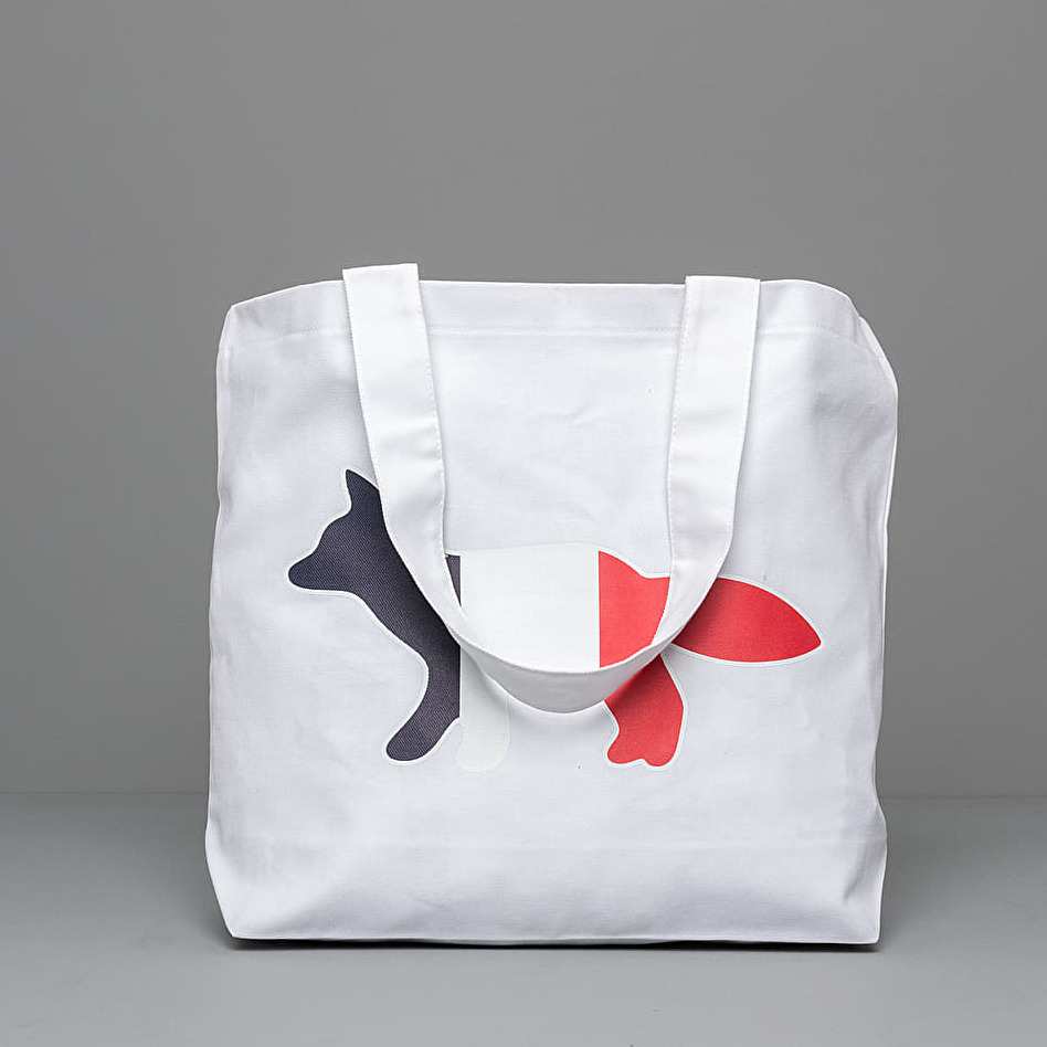 MAISON KITSUNÉ Tricolor Fox Tote Bag White