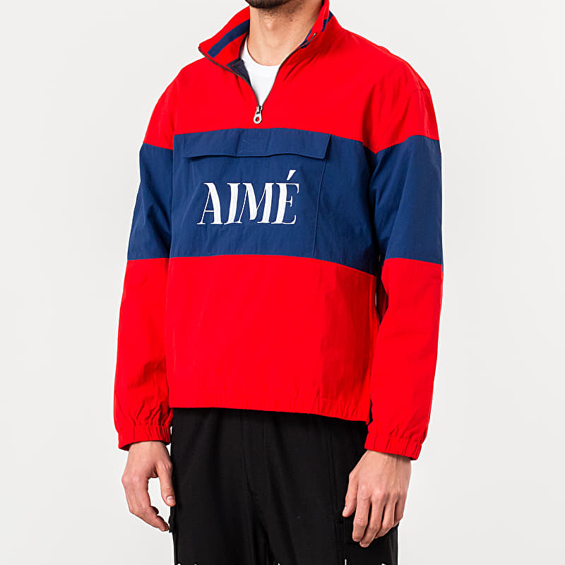 Aimé Leon Dore Quarter Zip Pullover Jacket Mineral Red/ Navy L