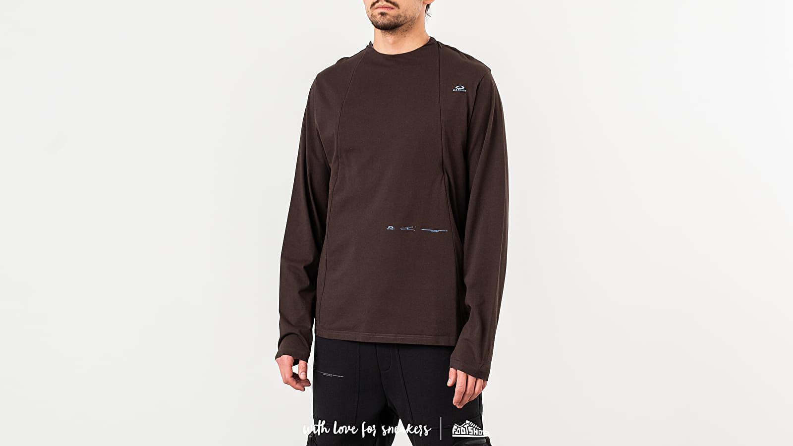 Tričká Oakley by Samuel Ross Skydiver Zipped Long Sleeve Tee Brown