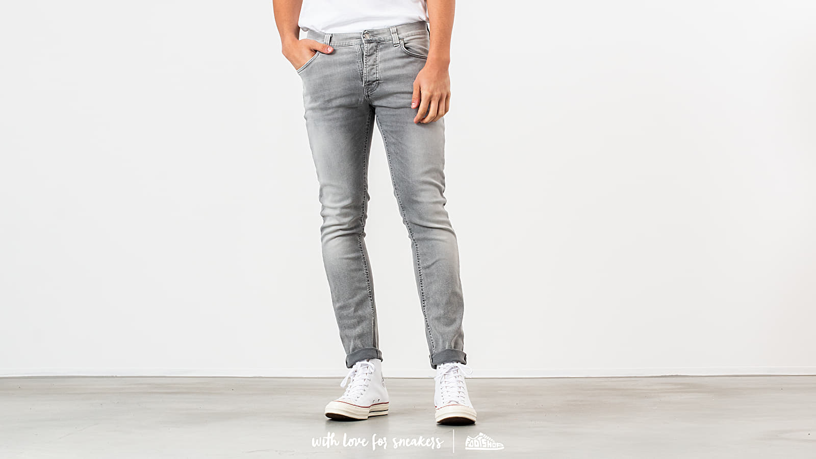 Παντελόνια και τζιν Nudie Jeans Grim Tim Jeans Light Grey Trashed