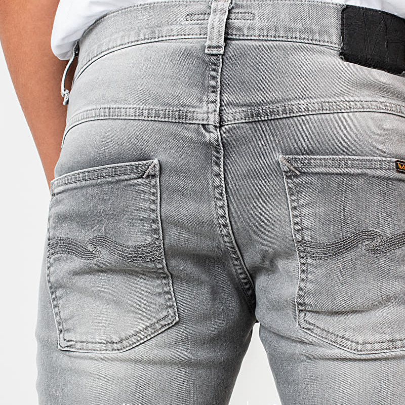 Nudie Jeans Grim Tim Jeans Light Grey Trashed, Gray