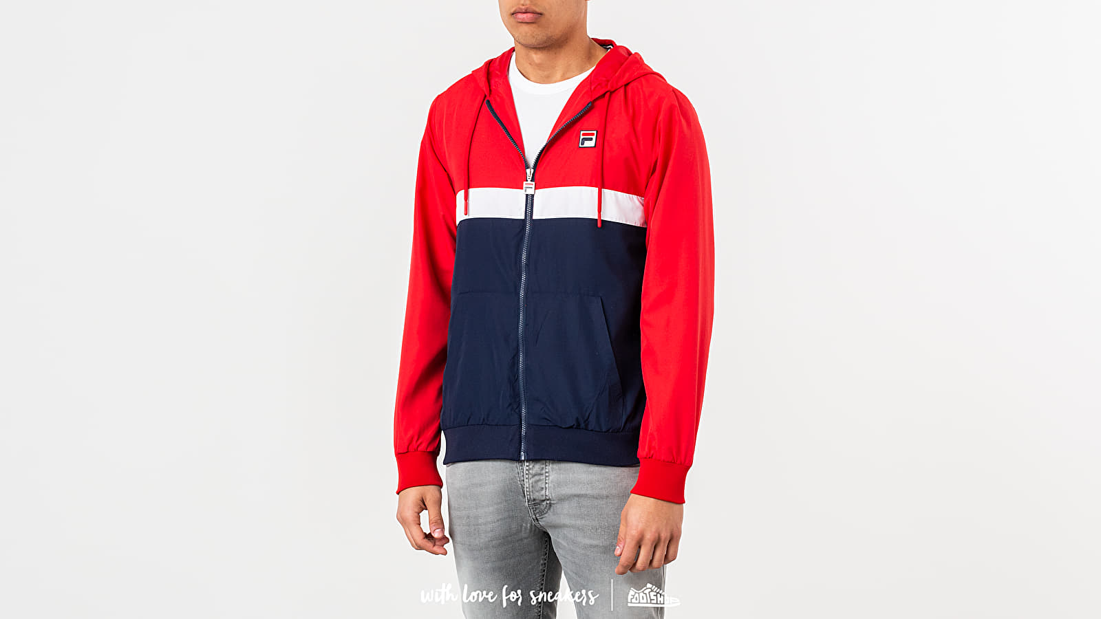 Dzsekik FILA Ambrose Colour Block Jacket Chinese Red