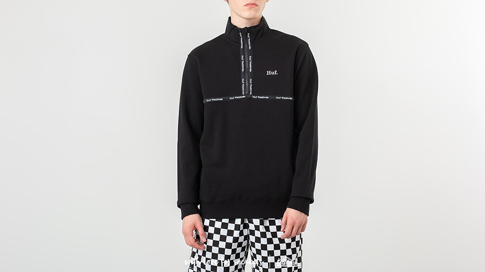 Kapucnis pulcsik HUF Midtown 1/2 Zip Fleece Pullover Black