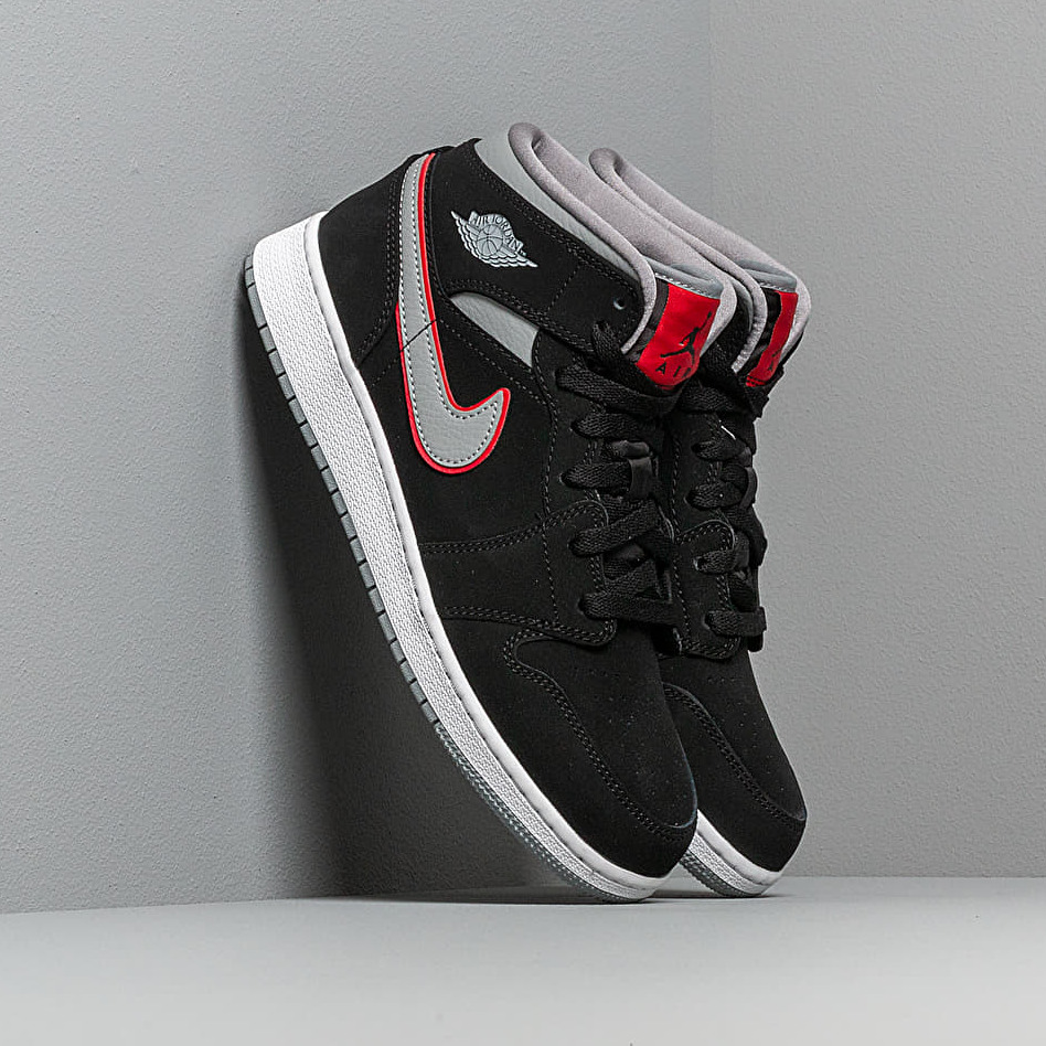 Air Jordan 1 Mid (GS) Black/ Particle Grey-White-Gym Red EUR 37.5