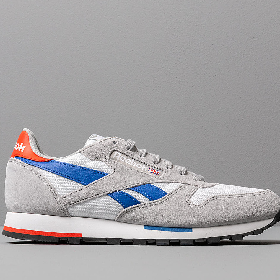 Reebok Classic Leather MU White/ Grey/ Cobalt/ Orange/ Black, Gray