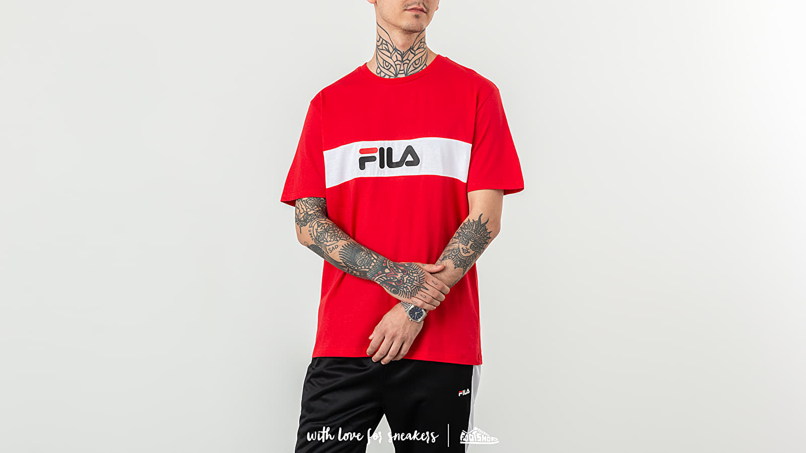 FILA Nolan Tee Dropped Shoulder True Red/ Bright White at a great price 35 € buy at Footshop