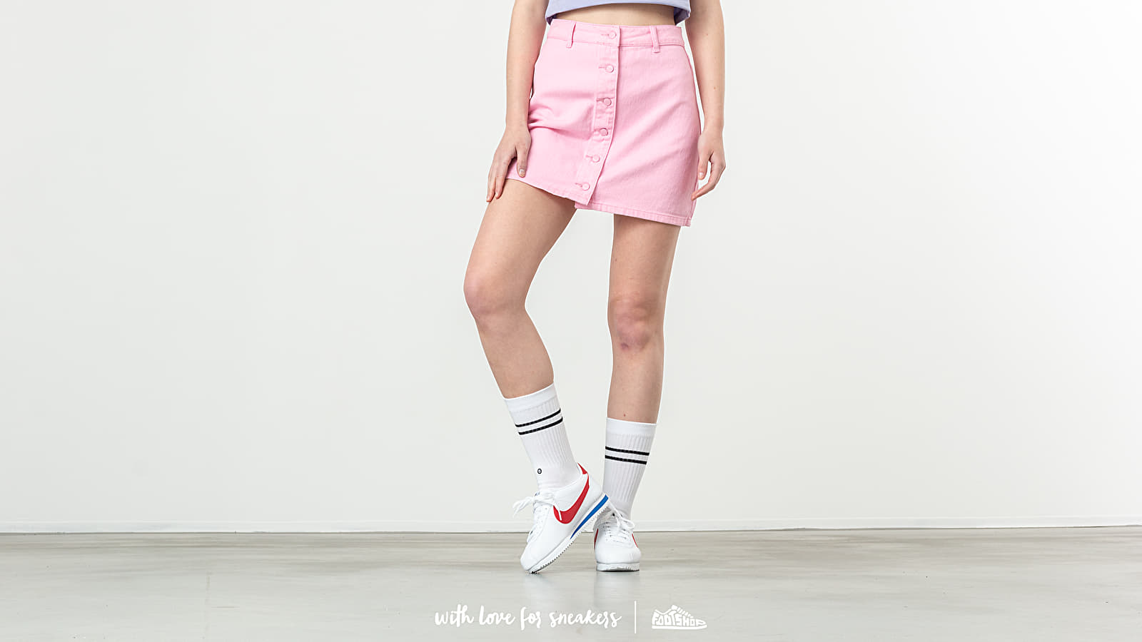 Röcke Lazy OAF Button Through Skirt Pink