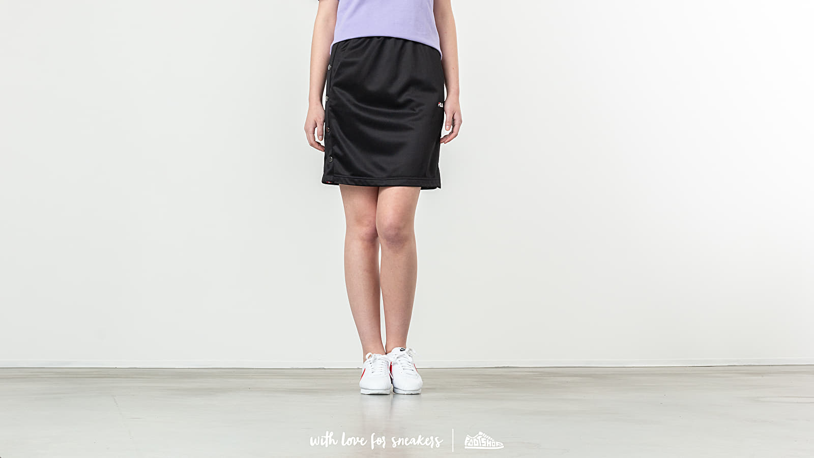 Jupes FILA Jenna Buttoned Track Skirt Black