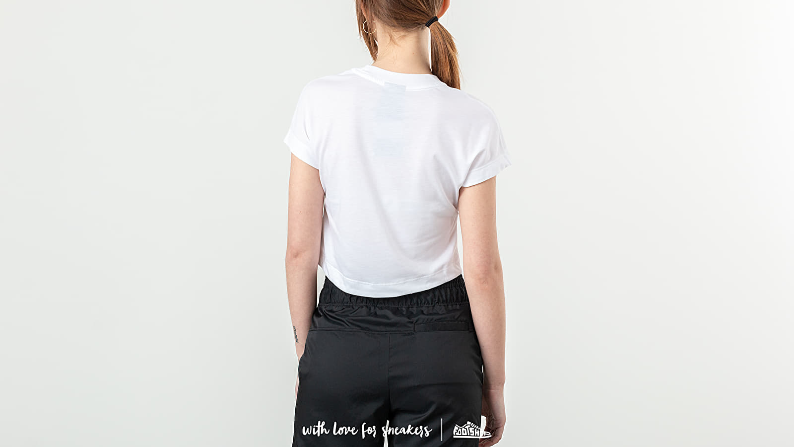 81e30c46b9638e Nike Sportswear Swoosh Shortsleeve Crop Top White  Black at a great price   34 buy at