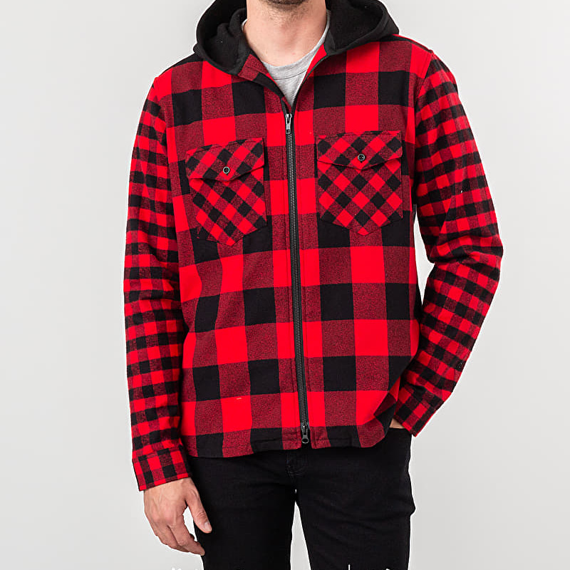 Raised by Wolves Chain Stitch Hooded Flanel Shirt Red Plaid