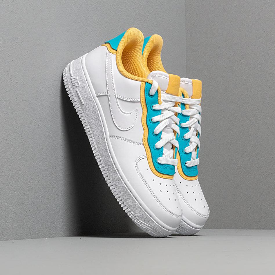 Nike Wmns Air Force 1 '07 Se White/ White-Lt Blue Fury-Topaz Gold EUR 38