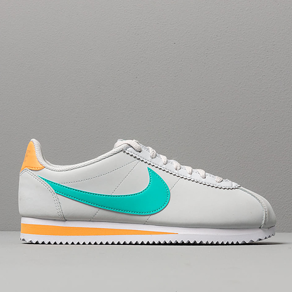 Nike Wmns Classic Cortez Leather Pure Platinum/ Hyper Jade-Fuel Orange, White