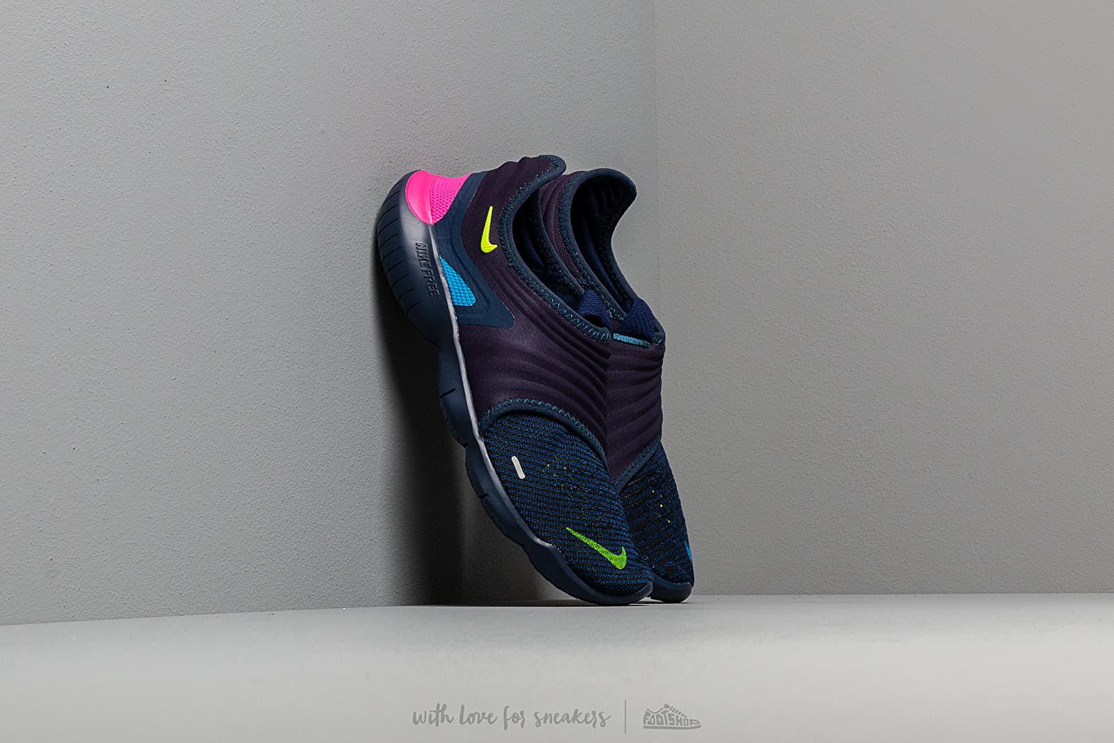 innovative design 9bf51 9ba9b Nike Free Run Flyknit 3.0 Midnight Navy/ Volt-Blue Hero ...
