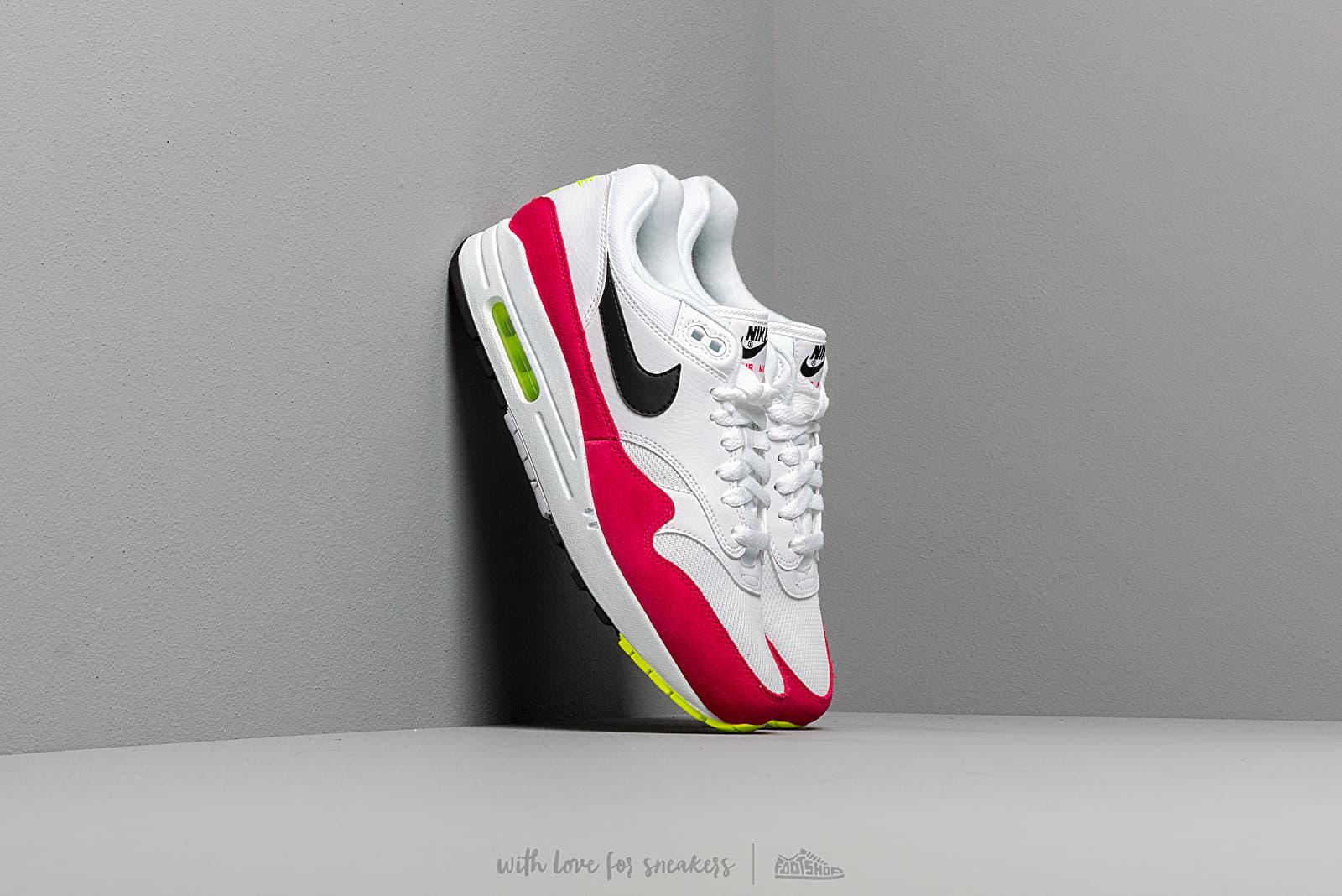 taille 40 1d59d 263a4 Nike Air Max 1 White/ Black-Volt-Rush Pink | Footshop