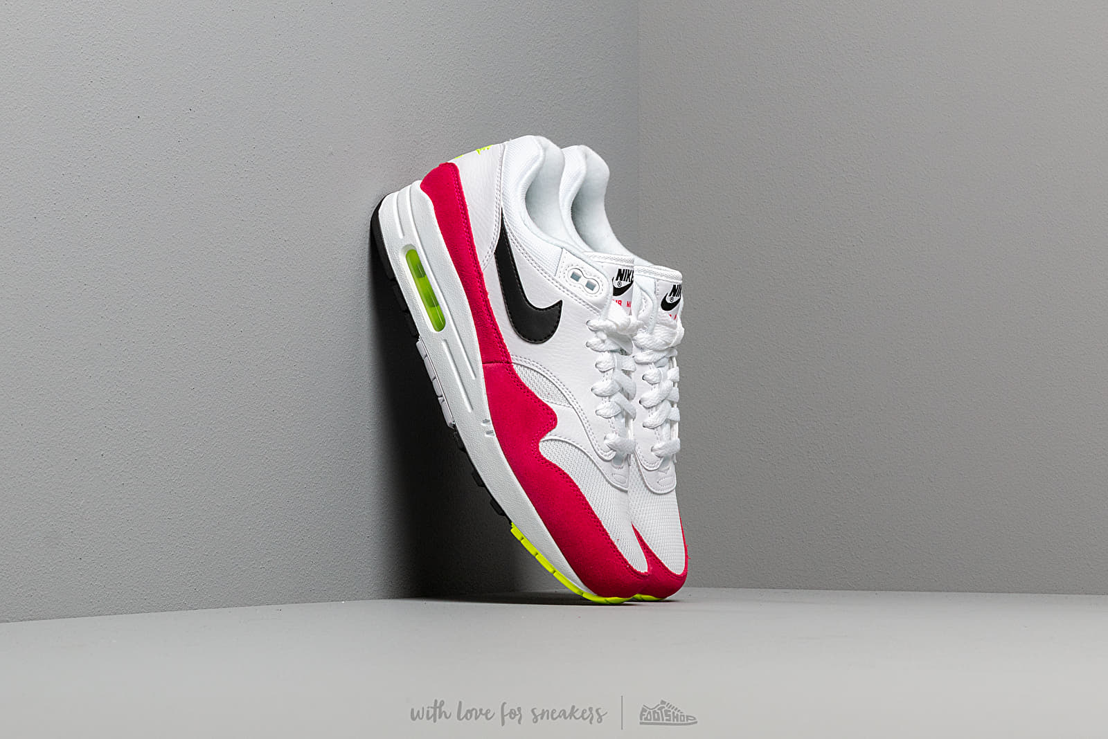 the latest e74f8 14890 Nike Air Max 1 White  Black-Volt-Rush Pink at a great price