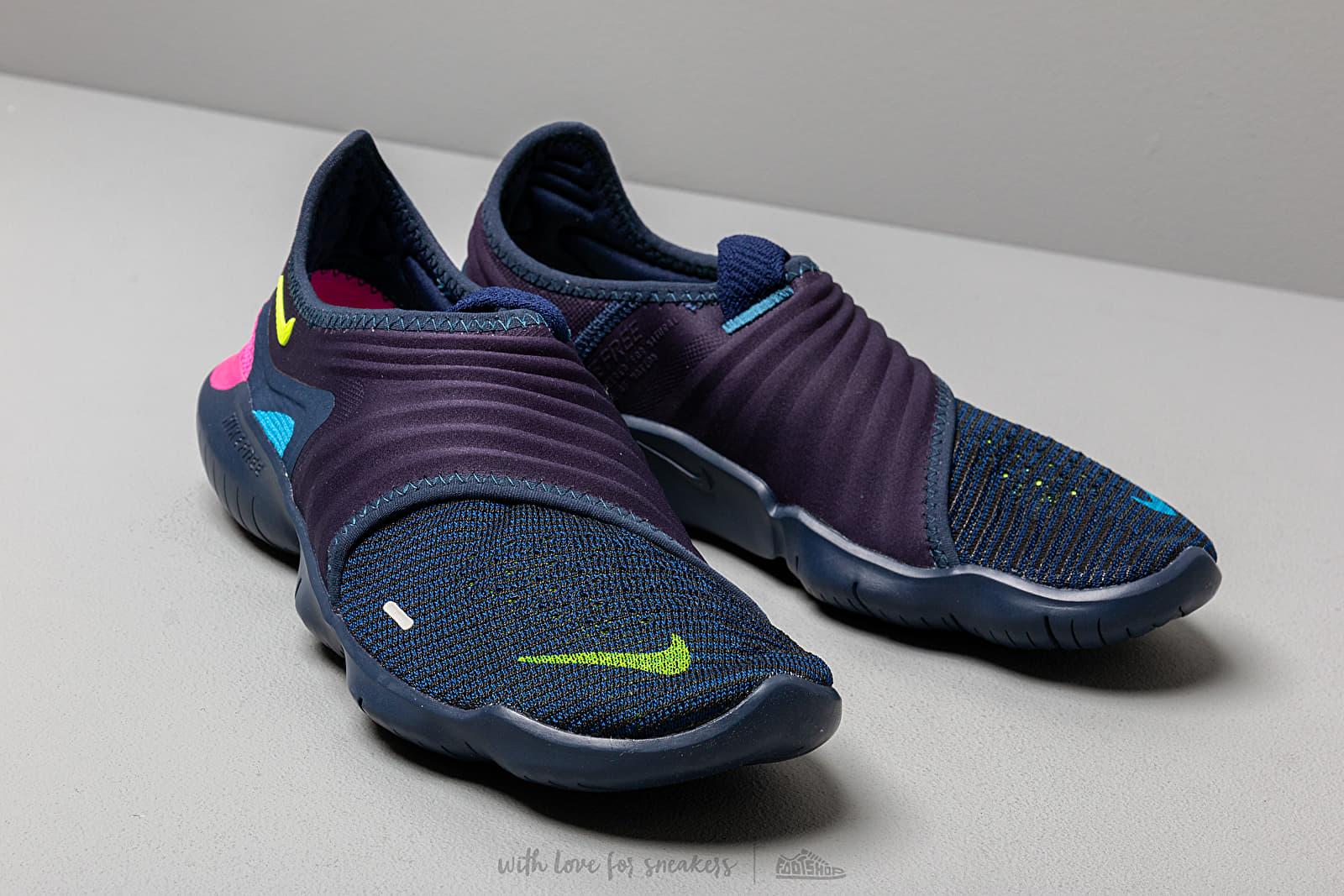 Nike Free Run Flyknit 3.0 Midnight Navy Volt Blue Hero   Footshop