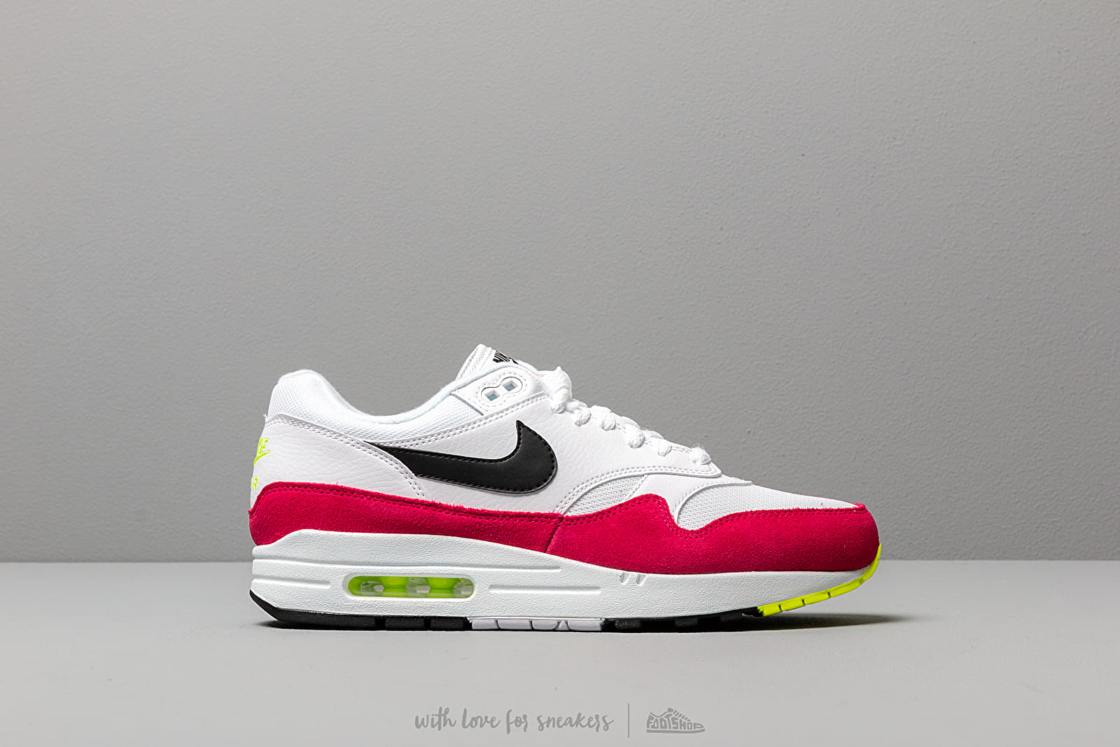 the latest 072bf 7a466 Nike Air Max 1 White  Black-Volt-Rush Pink at a great price