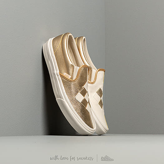 online store 12553 c8854 Vans Classic Slip-On (Woven Leather) Brushed Gold