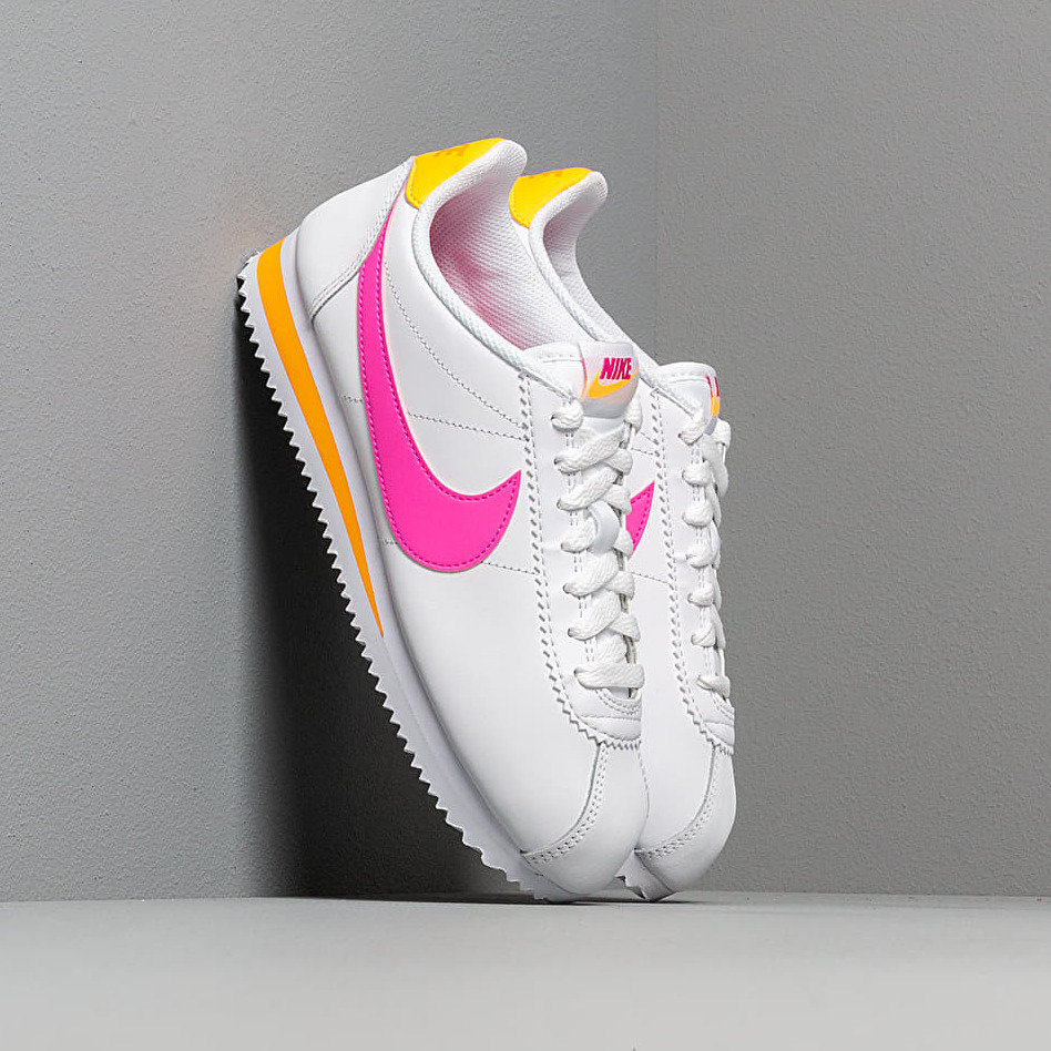 Nike Wmns Classic Cortez Leather White/ Laser Fuchsia-Laser Orange EUR 38