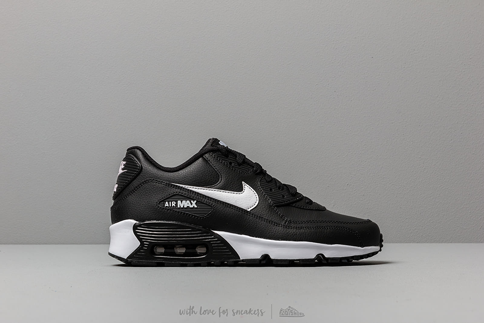 new photos 5fcaa 8195f Nike Air Max 90 Leather (GS) Black  White-Anthracite at a great
