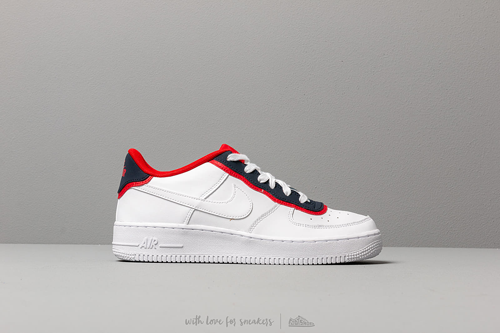 reputable site 68852 ed726 Nike Air Force 1 Lv8 1 Dbl Gs White  White-Obsidian-University Red