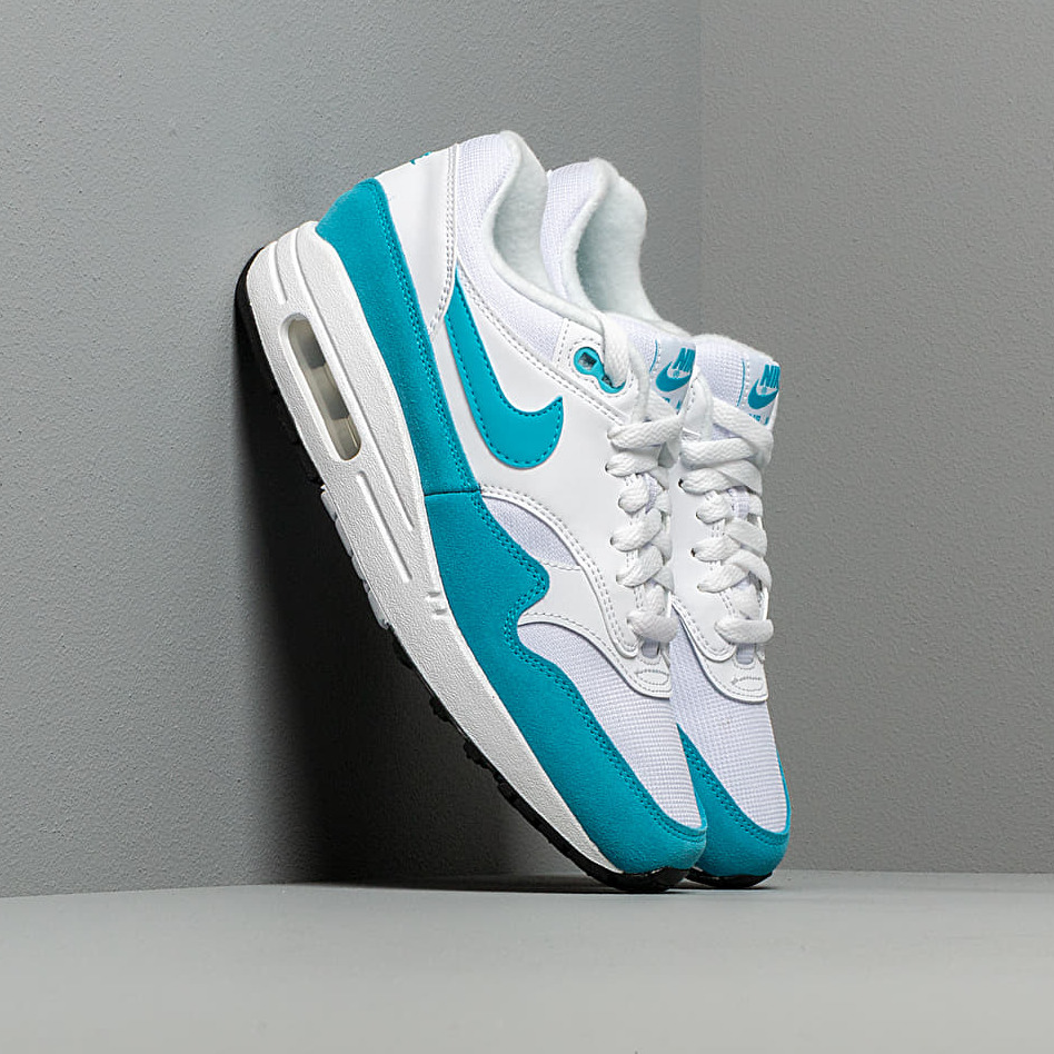 Nike Wmns Air Max 1 White/ Lt Blue Fury-Black EUR 40.5