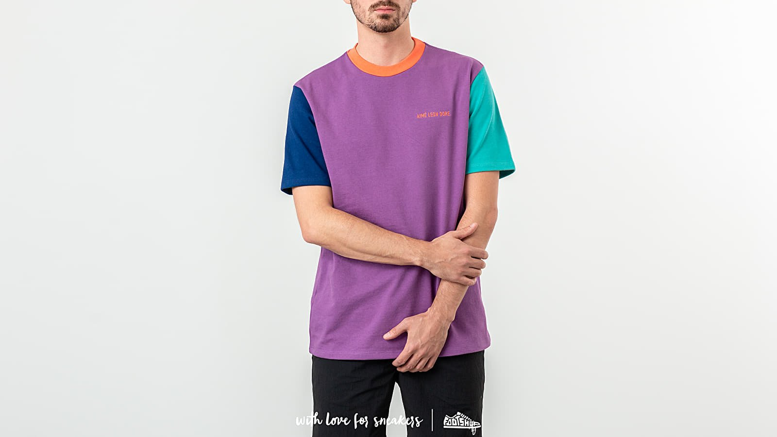 Trička Aimé Leon Dore Colour Block Tee Purple Tape