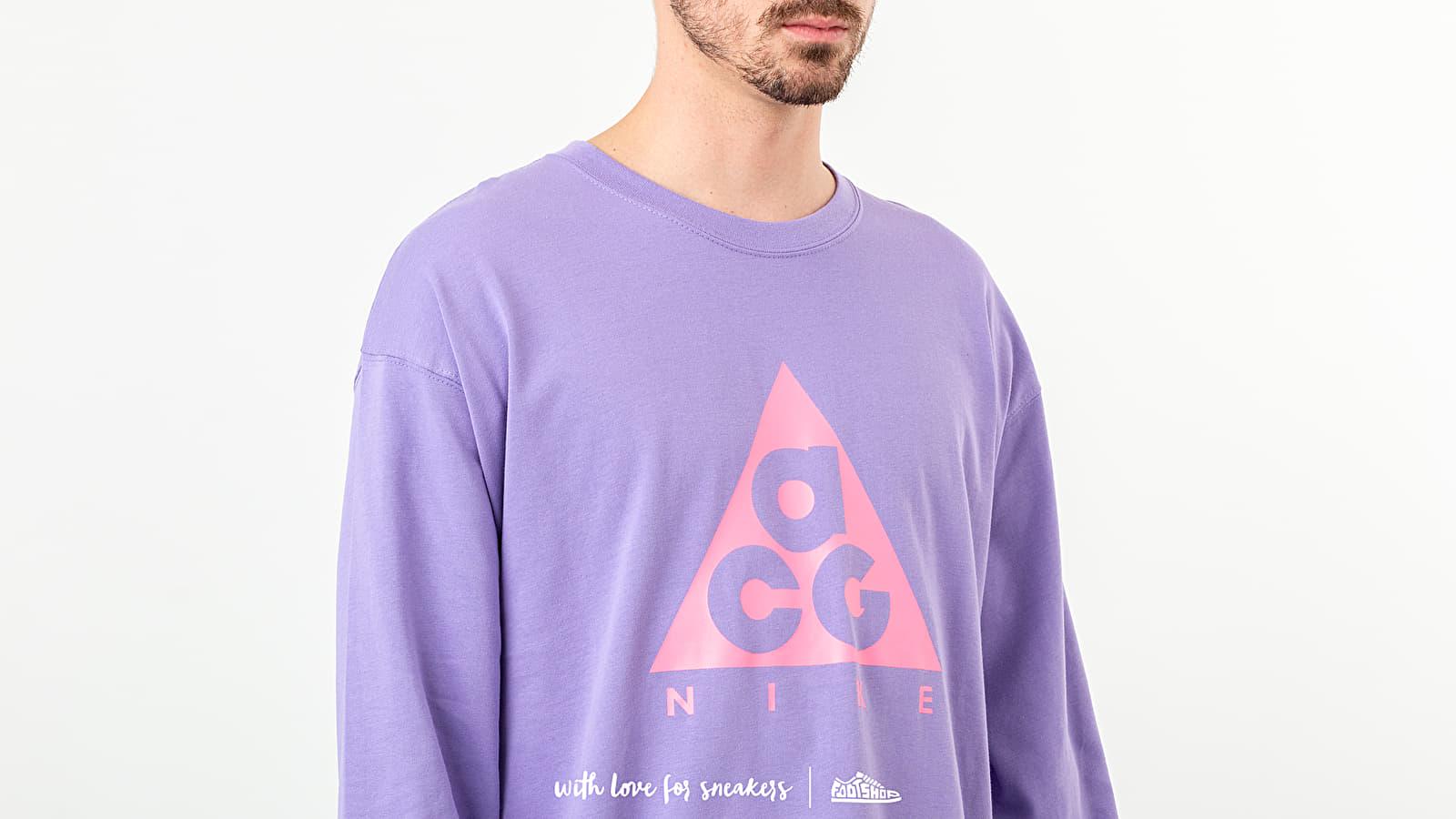 nike acg ls logo t-shirt space purple lotus pink