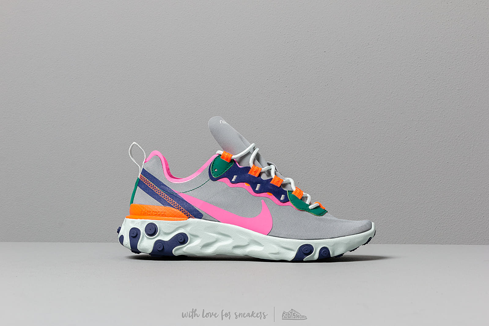 size 40 71a23 bd29a Nike W React Element 55 Wolf Grey  Laser Fuchsia-Hyper Crimson at a great