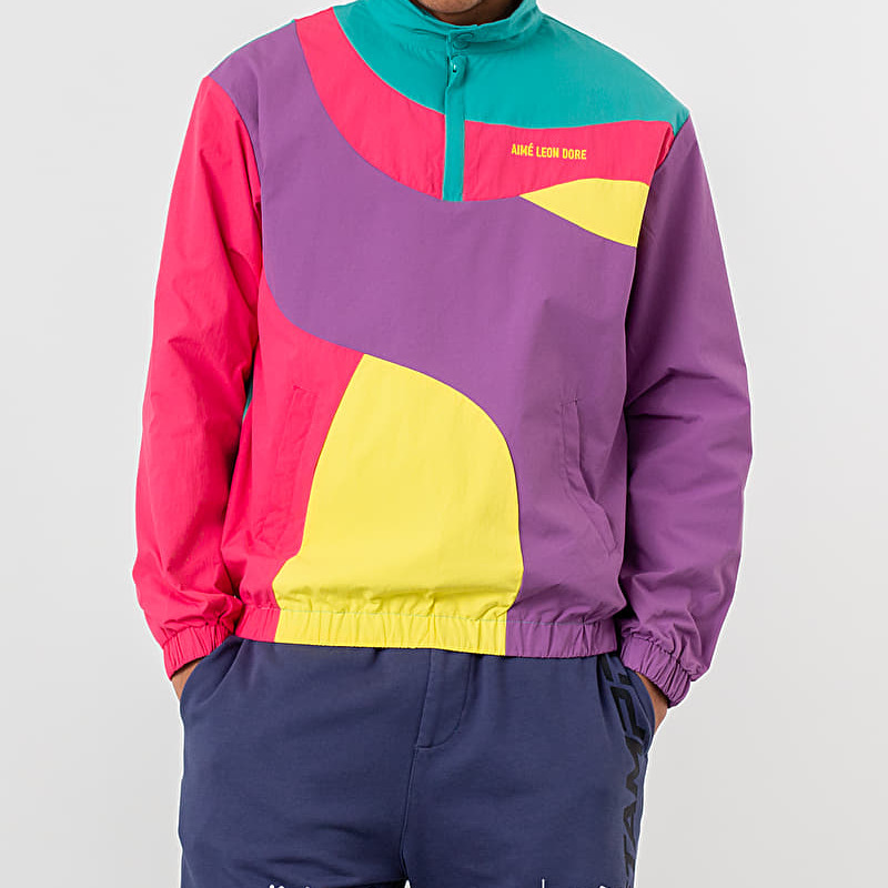 Aimé Leon Dore Colour Blocked Nylon Pullover Jacket Purple Tape Combo, Multicolour