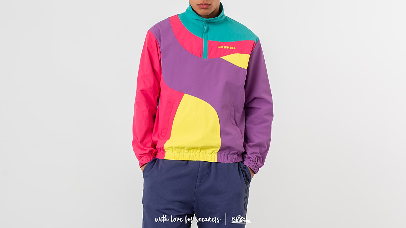 Aimé Leon Dore Colour Blocked Nylon Pullover Jacket Purple Tape Combo at a great price 286 € buy at Footshop