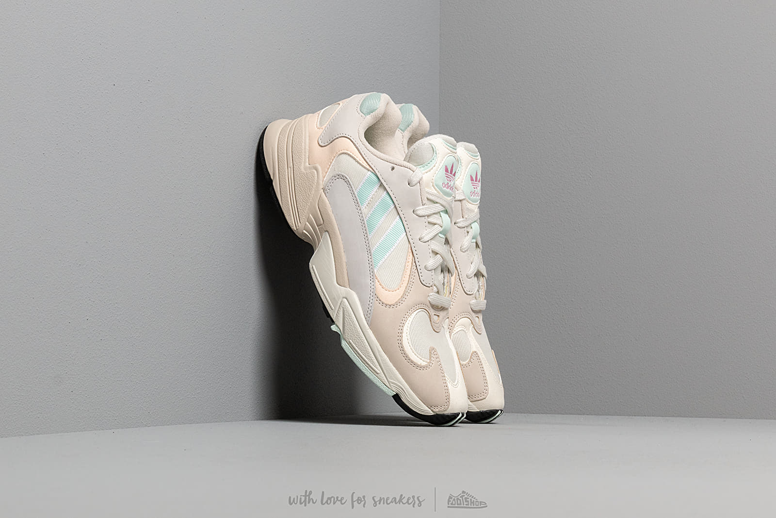 Mens Adidas Yung 1 Sneakers On White Ice Mint Ecru Tinted