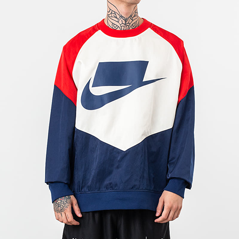 Nike Sportswear Woven Crewneck Blue Void/ University Red/ Sail/ Blue Void