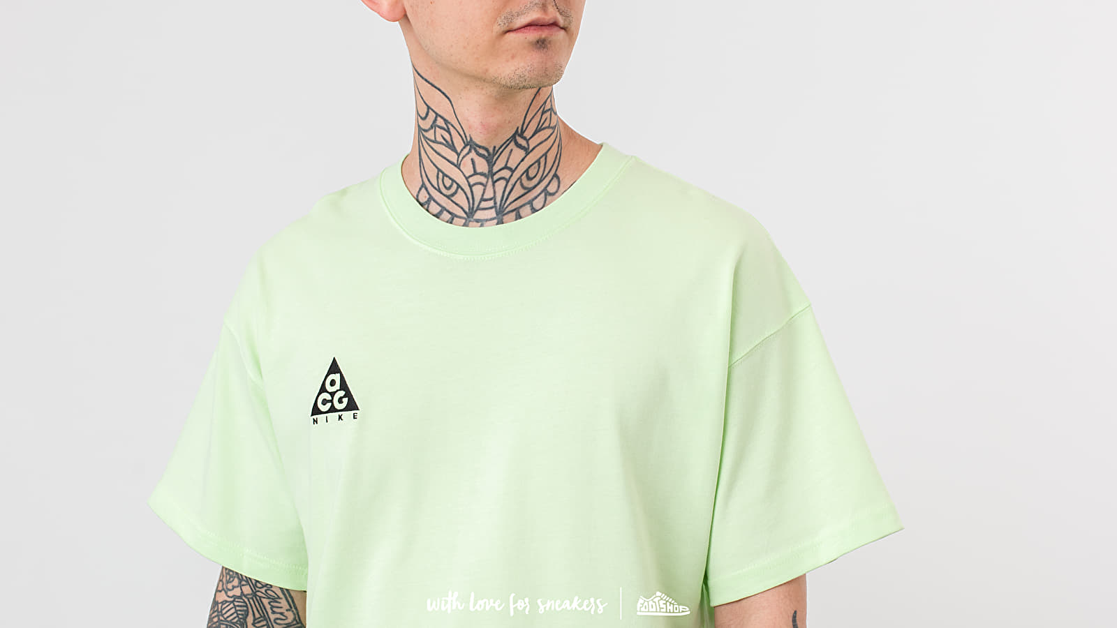 Nike Lab T Shirts | Mens ACG Logo Tee Barely Volt Black