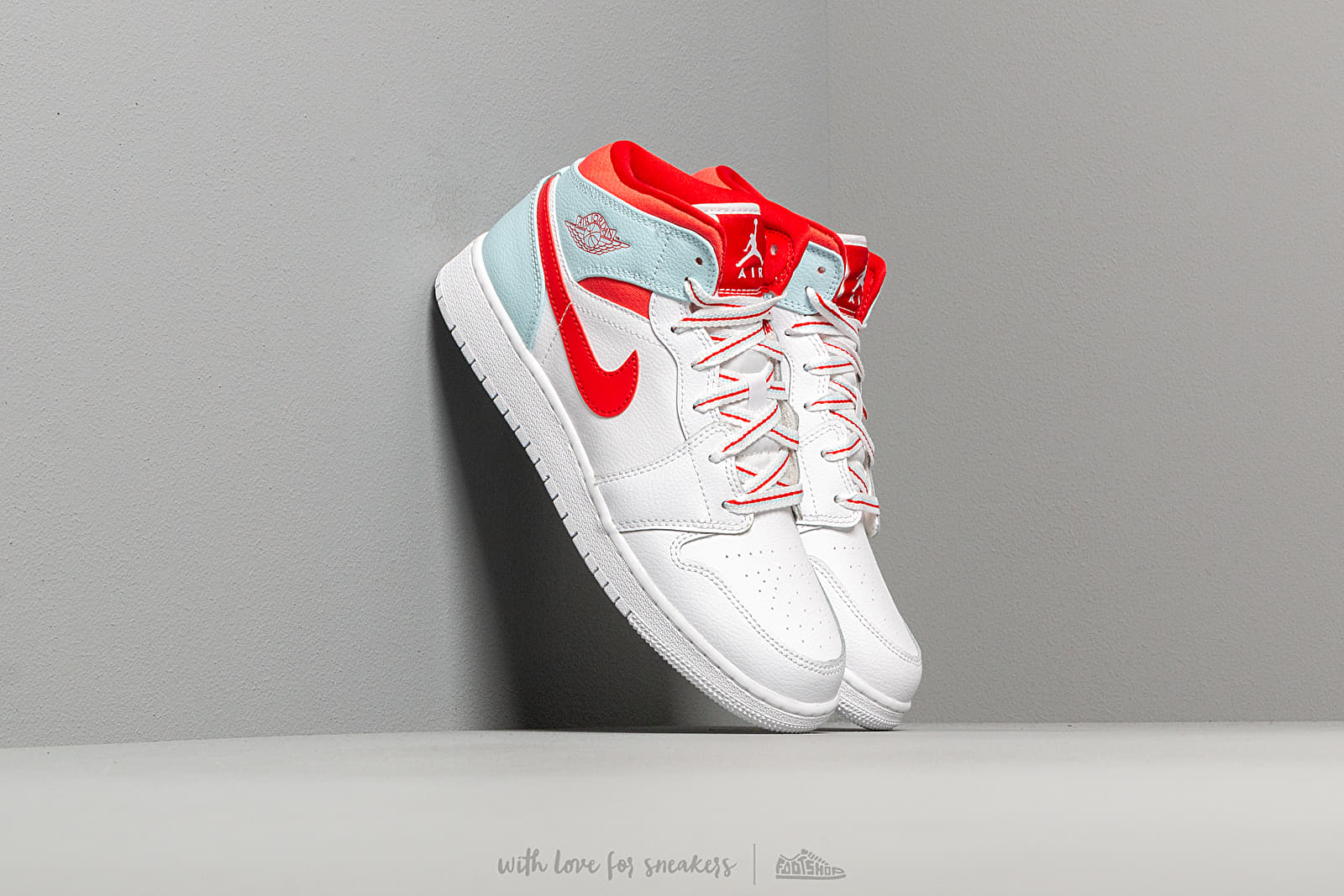 Air Jordan 1 Mid (GS) White/ University Red-Topaz Mist