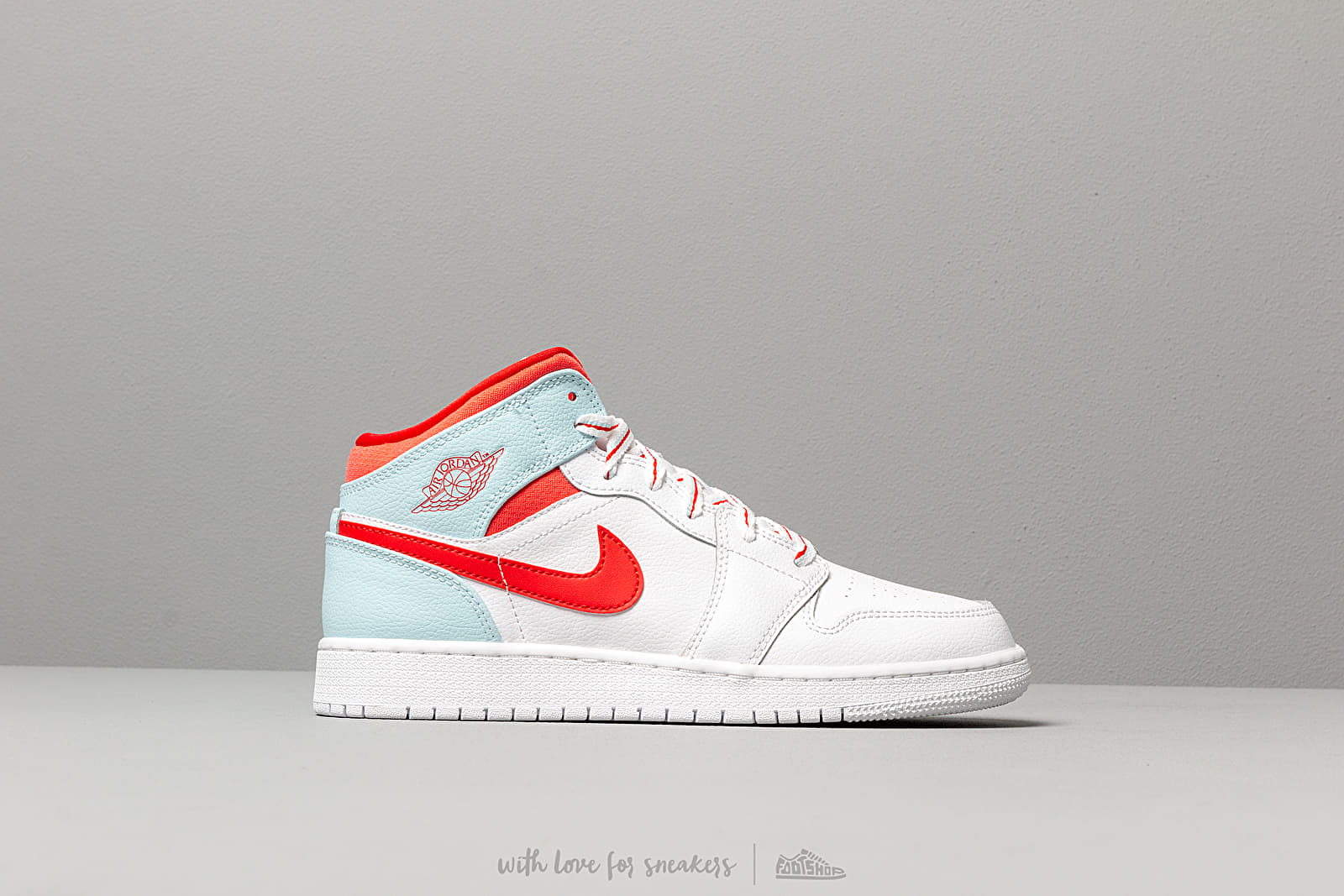 be74267564b Air Jordan 1 Mid (GS) White/ University Red-Topaz Mist | Footshop